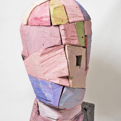 """Holzkopf"", Eiche und Acrylfarbe, 102x 58x 44, 2004"