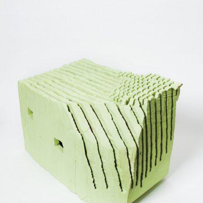 """""""Grünes Haus"""", Linde und Ölfarbe, 65x 43x 38 cm, 2003"""