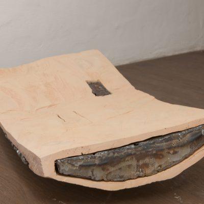 """Eisenholz"", Zirbelkiefer, Eisen, Acryl, 38x 74x12 cm, 2013"