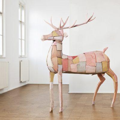 """""""Hirsch 2"""", verschiedene Hölzer, Acryl, 2010"""