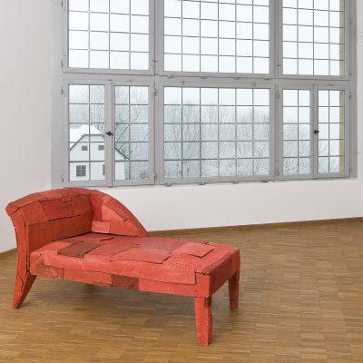"""""""Ottomane"""", Eiche, Ulme, Esche, Acryl, 87x 92x 190cm, 2008"""