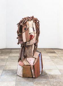 """""""Prophet"""", verschiedene Hölzer, Acryl, 42x 54x 110cm, 1995-2012"""