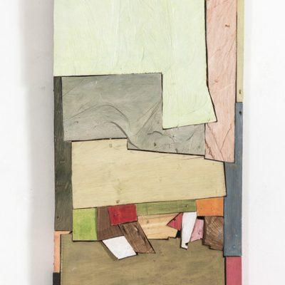 """Landschaft"", verschiedene Hölzer, Acryl, 62x 110x 6 cm, 2013"