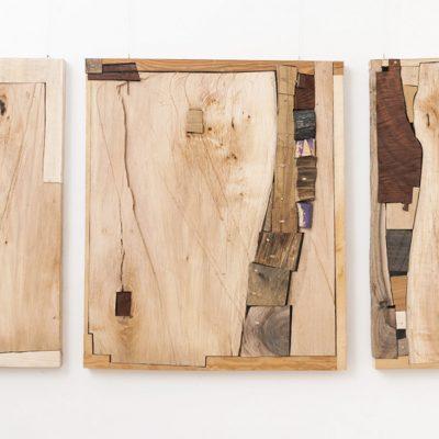 """""""Triptichon"""", Verschiedene Hölzer, 160x 82x 7 cm, 2013"""