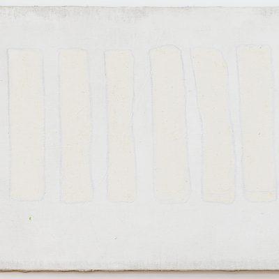 """""""Weisse Felder"""", Acryl auf Jute, 140x100 cm, 2004"""