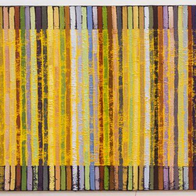 """""""Gelb mit Strichen"""", Öl auf Jute, 100x140 cm, 2005-13"""