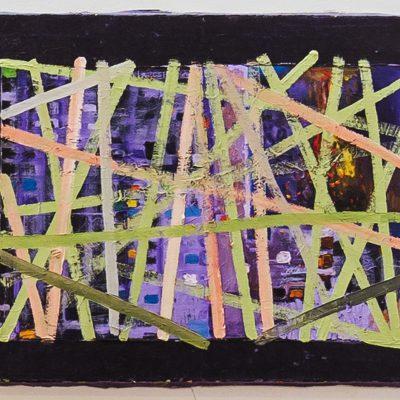 """""""Violette Fläche durchkreuzt"""",Öl auf Leinen, 92x70 cm, 2003-14"""