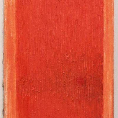 """""""ziegelrotes Feld"""", Öl auf Leinen, 122x71 cm, 2009"""