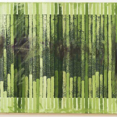 """Grün mit Linien"", Acryl, Öl auf Jute, 140x100 cm, 2005-14"